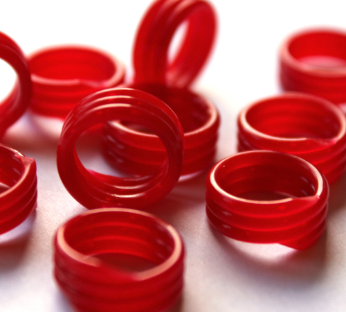 Spiralringe 10 mm rot 10 Stück