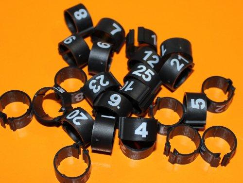 Clipsringe 08 mm nummeriert 1 - 25 schwarz 25 Stück
