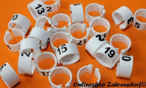 Clipsringe 08 mm nummeriert 1 - 25 weiß 25 Stück