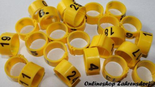Clipsringe 12 mm nummeriert 1-25 sonnengelb 25 Stück