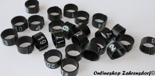 Clipsringe 12 mm nummeriert 1-25 schwarz 25 Stück