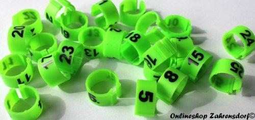 Clipsringe 12 mm nummeriert 1-25  leuchtend hellgrün 25 Stück