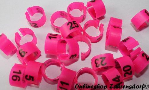 Clipsringe 12 mm nummeriert 1-25 pink 25 Stück