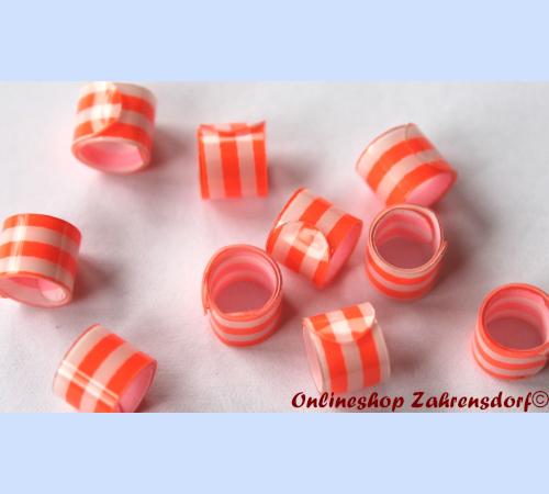 Bandringe 5 mm weiß - orange 10 Stück