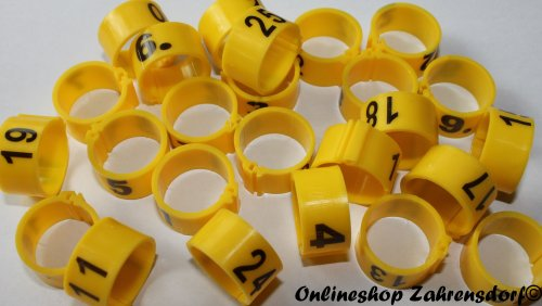 Clipsringe 16 mm nummeriert 1-25 sonnengelb 25 Stück