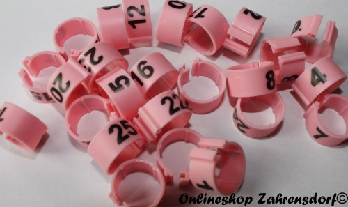 Clipsringe 16 mm nummeriert 1-25 rosa 25 Stück