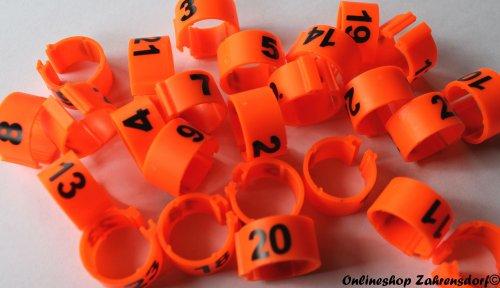 Clipsringe 16 mm nummeriert 1-25 orange 25 Stück