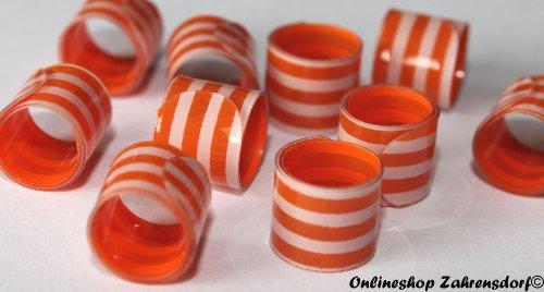 Bandringe 8 mm weiß - orange 10 Stück