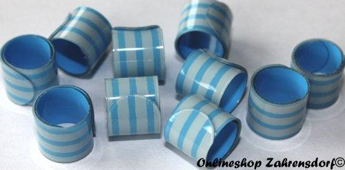 Bandringe 8 mm weiß - blau 10 Stück