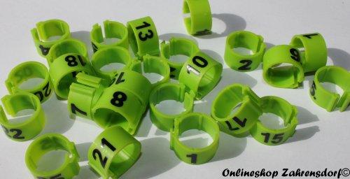 Clipsringe 08 mm nummeriert 1 - 25 grasgrün 25 Stück