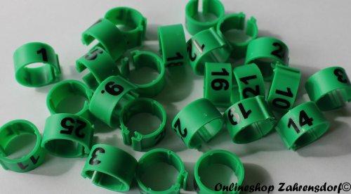 Clipsringe 08 mm nummeriert 1 - 25 dunkelgrün 25 Stück