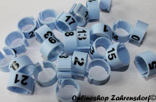 Clipsringe 08 mm nummeriert 1 - 25 hellblau 25 Stück