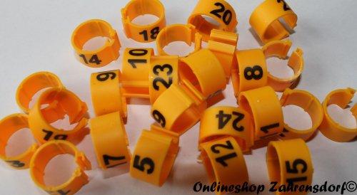 Clipsringe 12 mm nummeriert 1-25 gelb 25 Stück