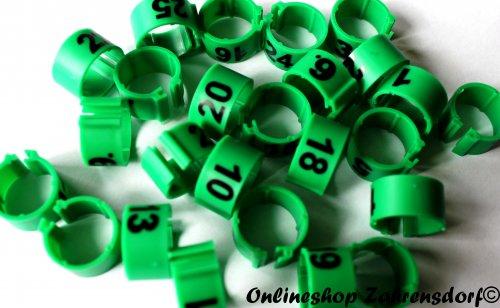 Clipsringe 12 mm nummeriert 1-25 dunkelgrün 25 Stück