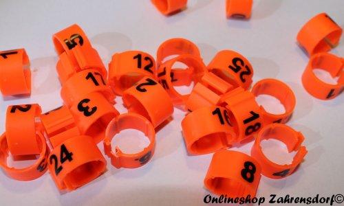 Clipsringe 12 mm nummeriert 1-25 leuchtorange 25 Stück