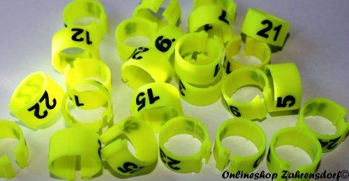 Clipsringe 12 mm nummeriert 1-25 neongelb 25 Stück