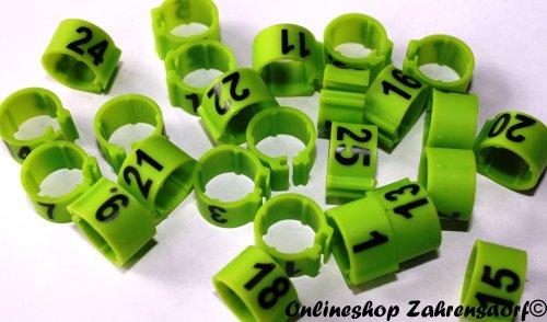 Clipsringe 16 mm nummeriert 1-25 grasgrün 25 Stück
