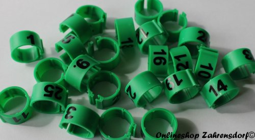 Clipsringe 16 mm nummeriert 1-25 dunkelgrün 25 Stück