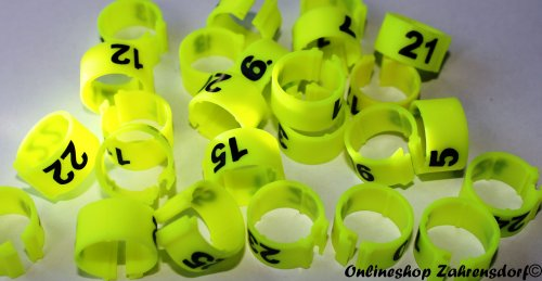 Clipsringe 16 mm nummeriert 1-25 leuchtgelb 25 Stück