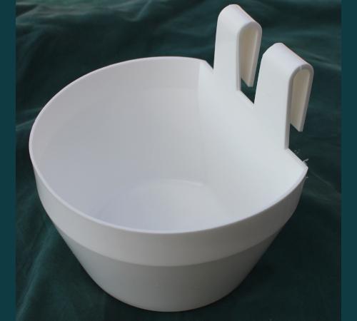 Käfignapf (weiß) aus Kunststoff zum Einhängen
