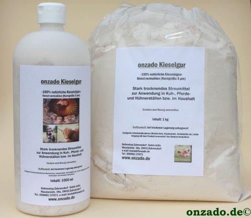 Stäubeflasche onzado® Kieselgur + 1 kg Nachfüllbeutel