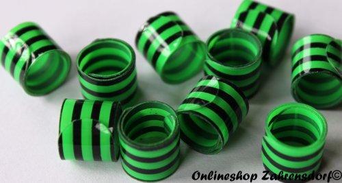Bandringe 8 mm schwarz-grün 10 Stück