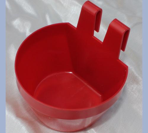 Käfignapf (rot) aus Kunststoff zum Einhängen