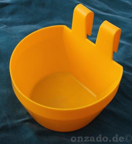Käfignapf (gelb) aus Kunststoff zum Einhängen