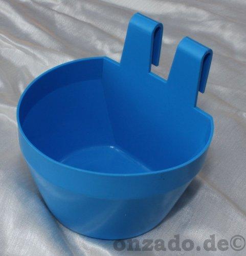 Käfignapf (blau) aus Kunststoff zum Einhängen